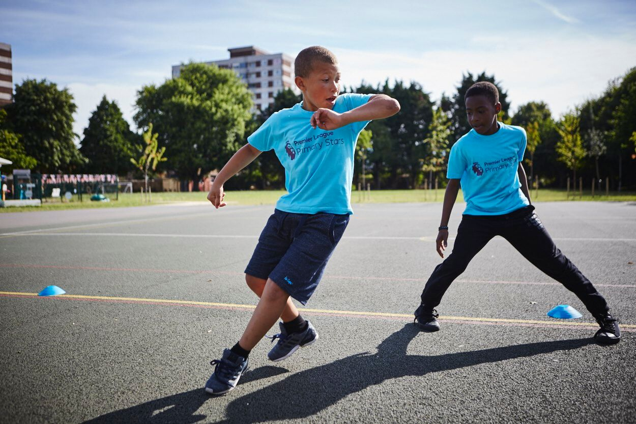 Primary stars playing football