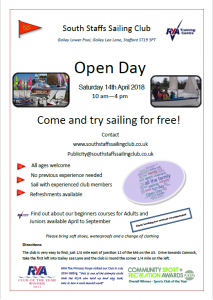 South Staffordshire Sailing open day flyer