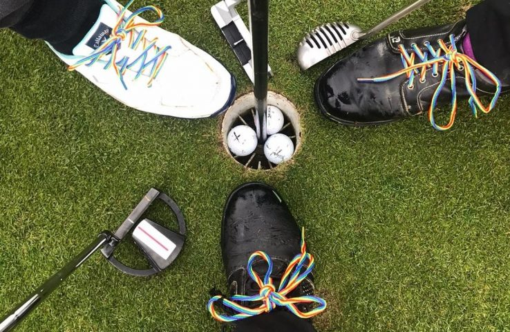 Golf and shoes with rainbow laces