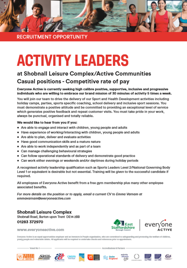 Activity leaders for Shobnall poster